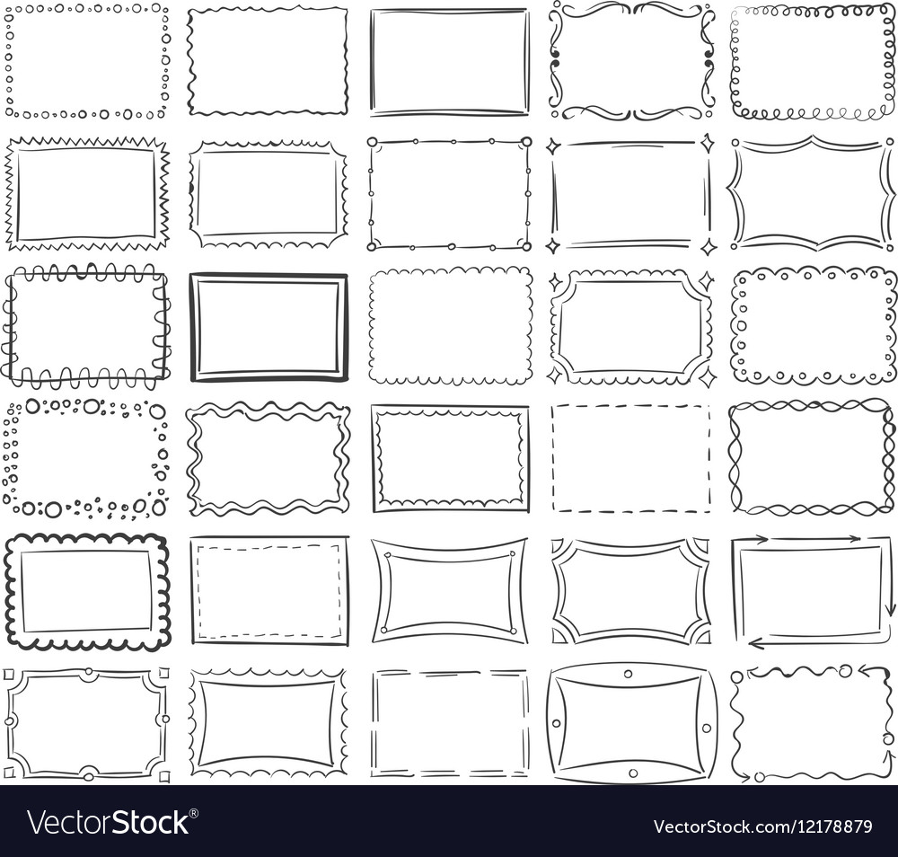 Simple doodle sketch square frames vector image