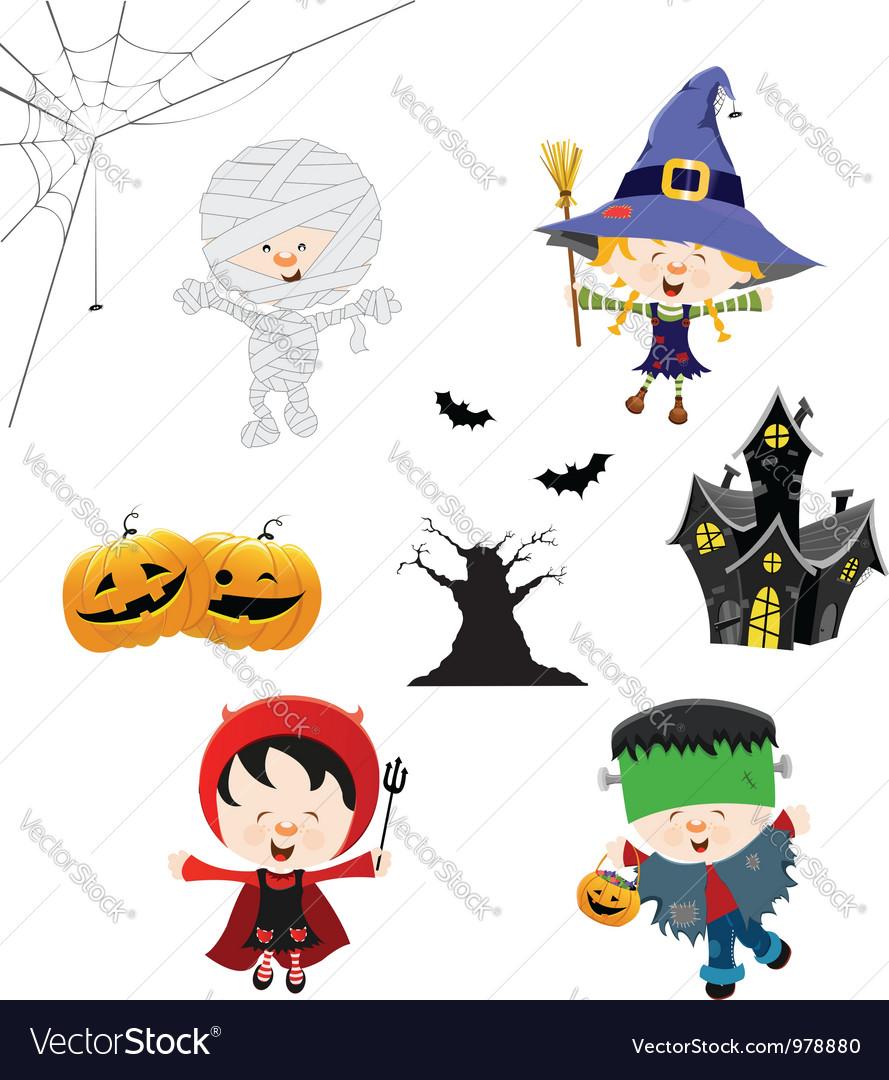Halloween Kid Set vector image