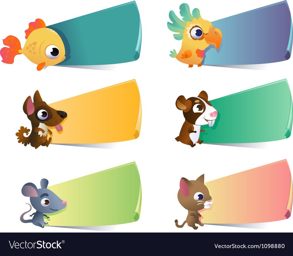 Collection of cartoon pets with banners on vector image