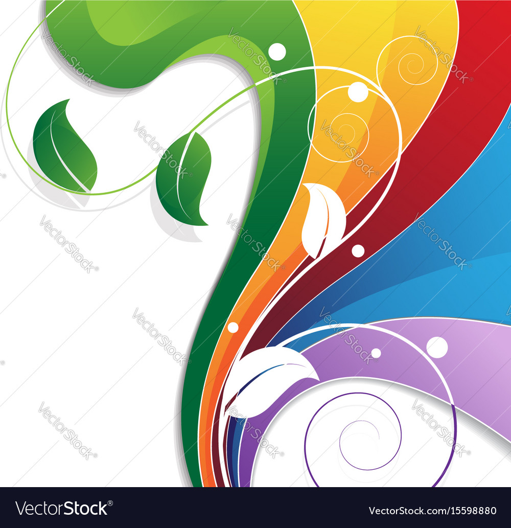 Rainbow with floral pattern vector image