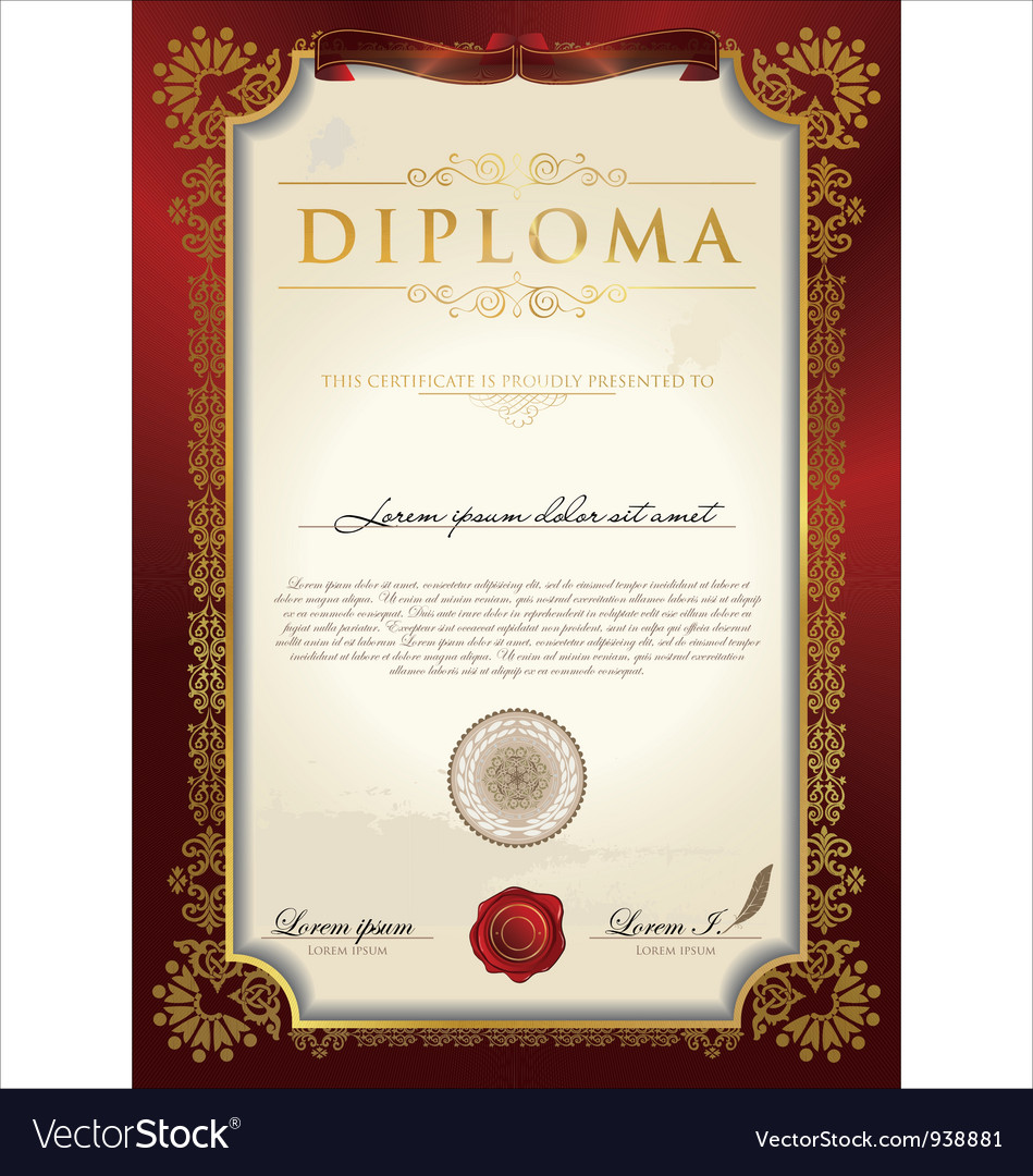 Certificate or diploma template Royalty Free Vector Image