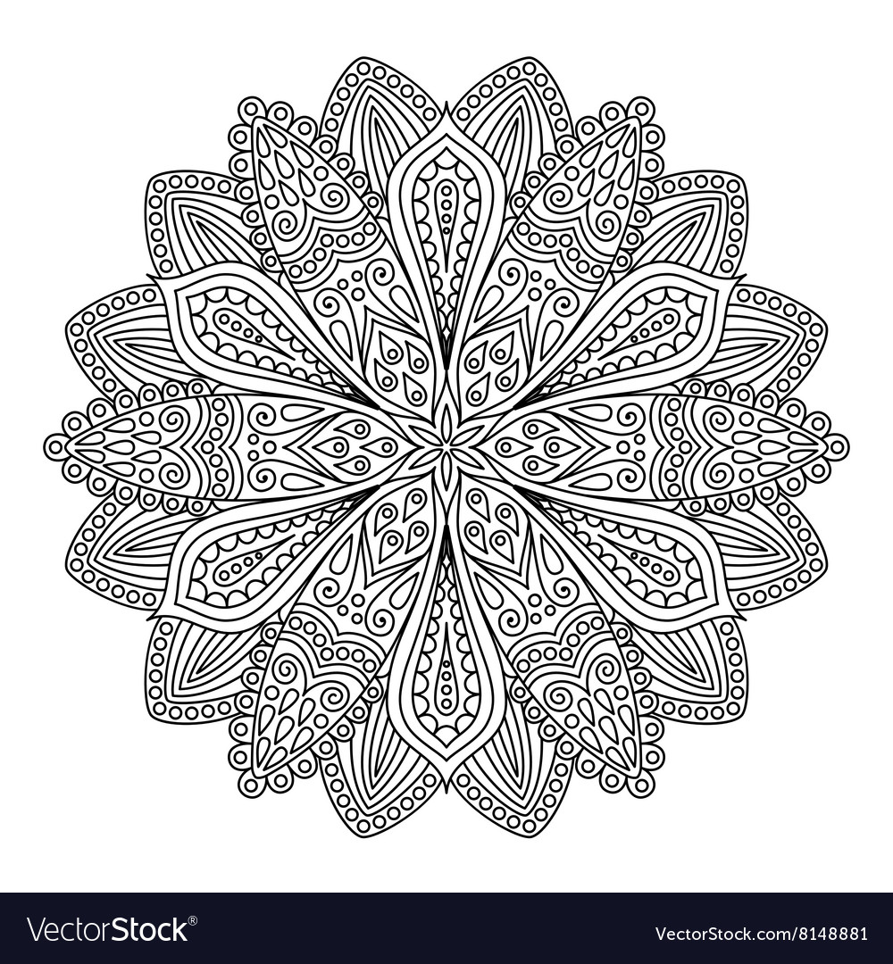 Intricate Flower Coloring Page Royalty Free Vector Image