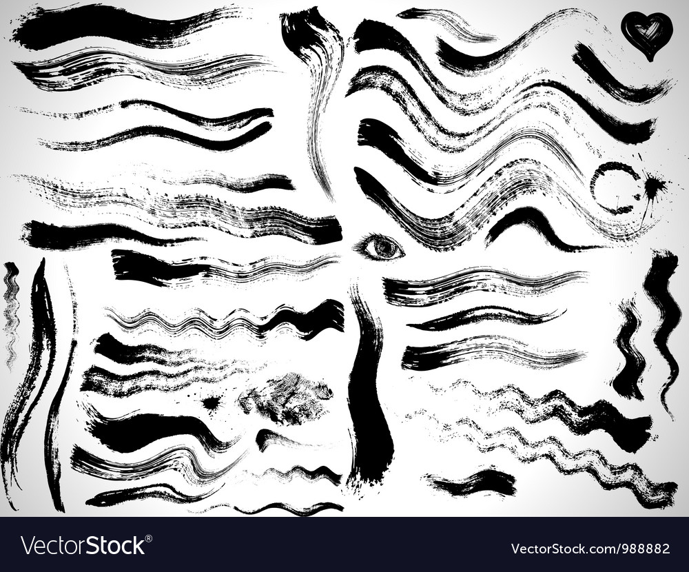 Ink brush strokes set vector image