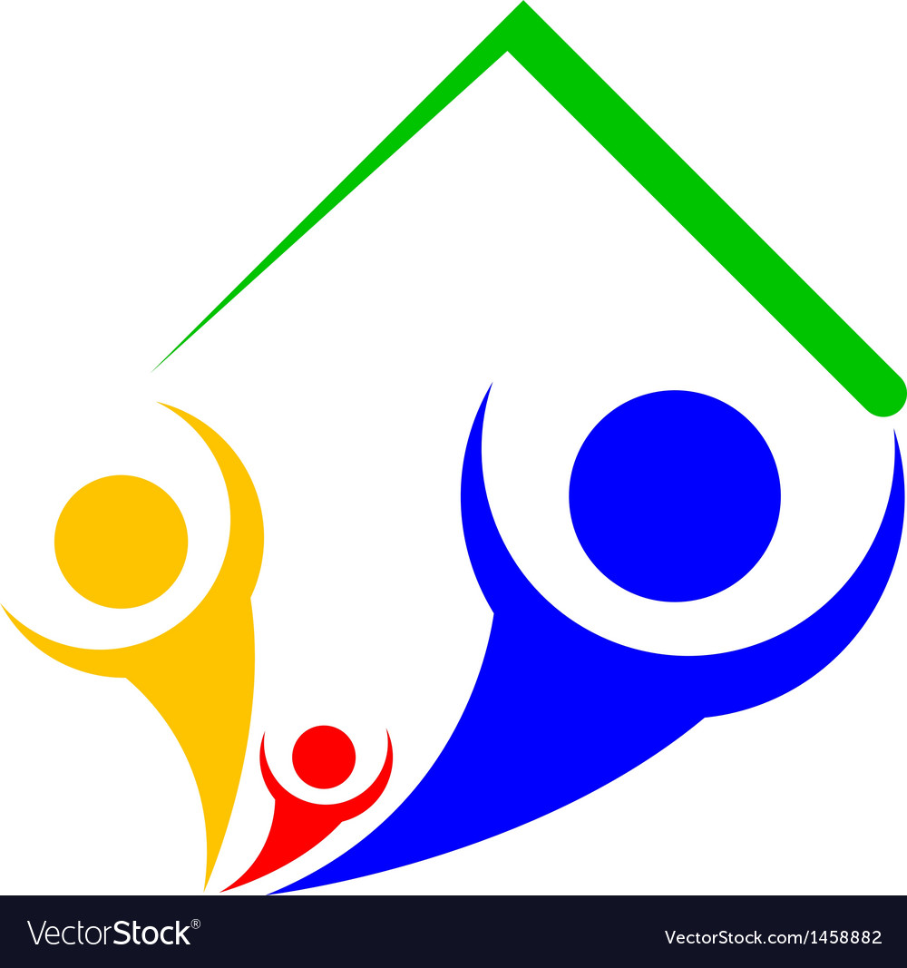 Icon of family under roof vector image