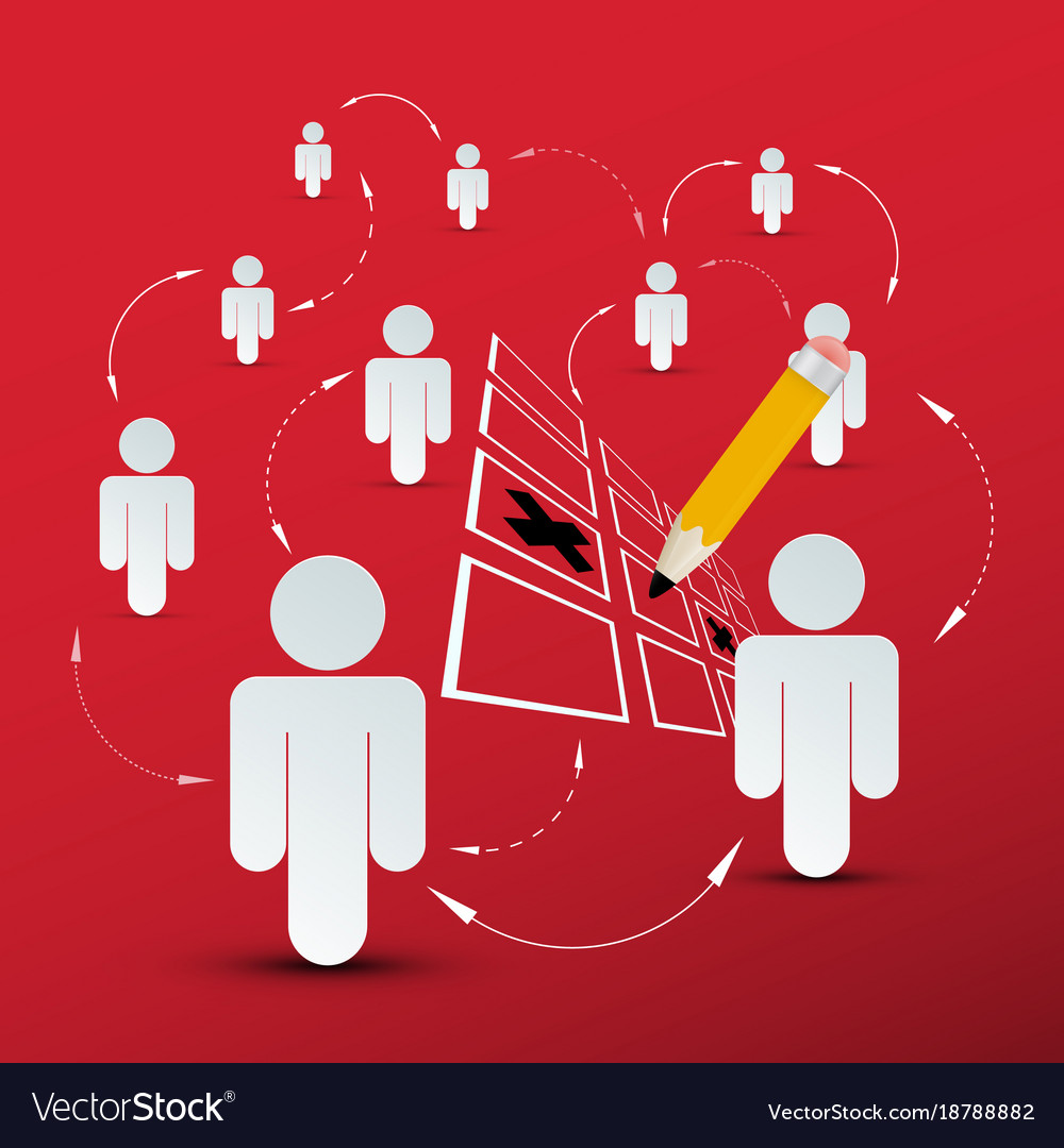 People connection social media symbol with pencil vector image