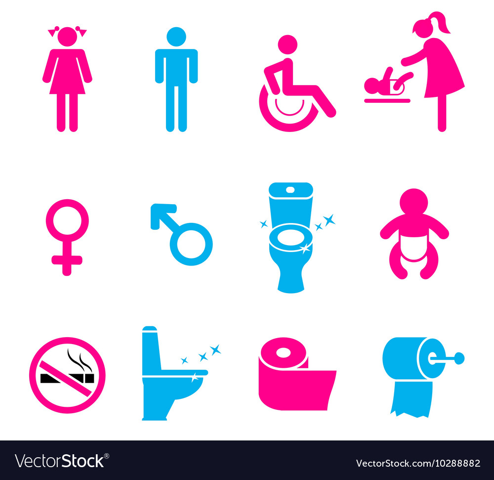 Toilet icons set isolated on white vector image