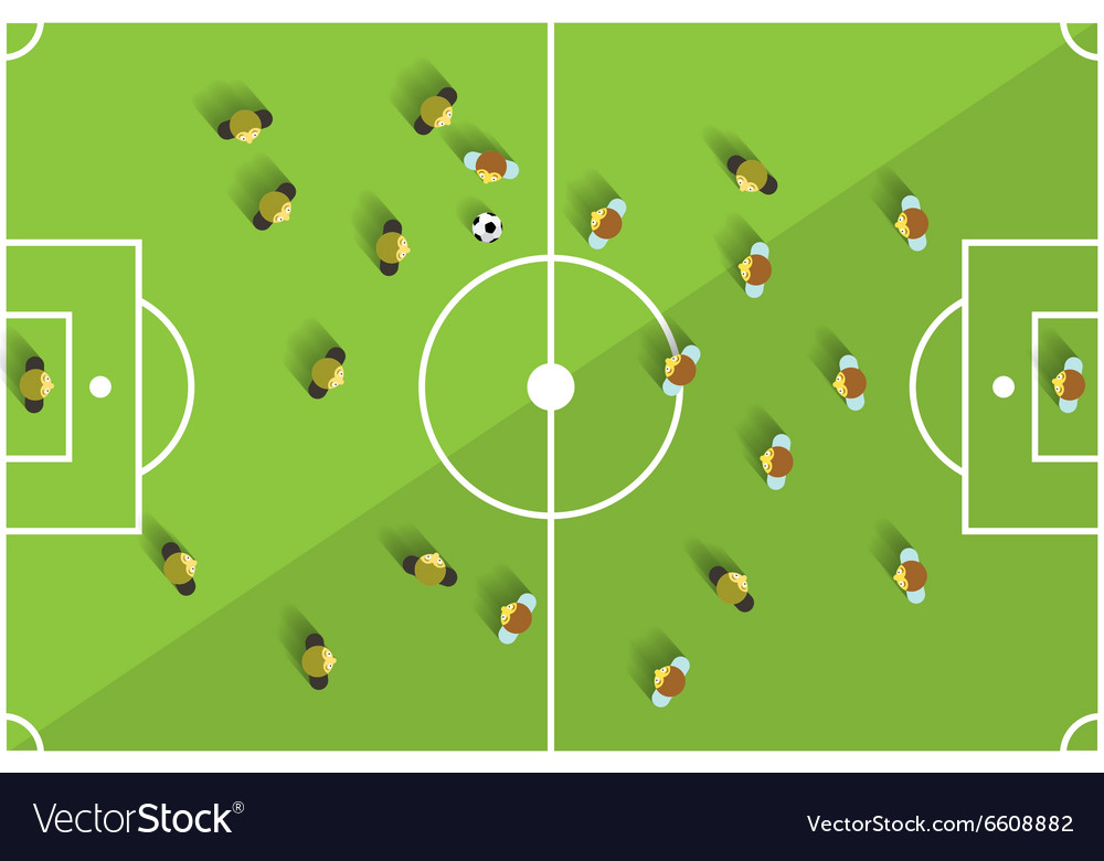 Top View Football Playground with Players vector image