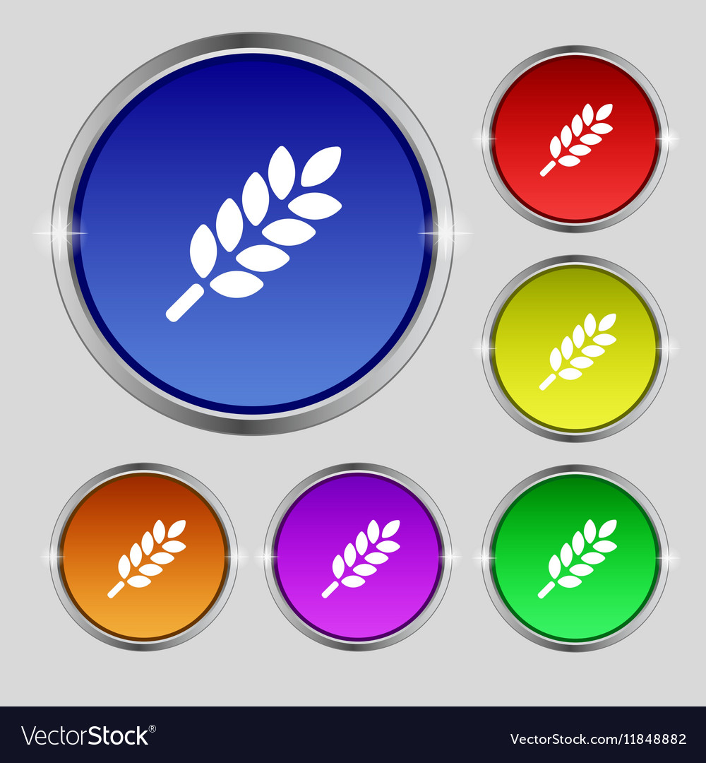 Wheat Ears Icon sign Round symbol on bright vector image