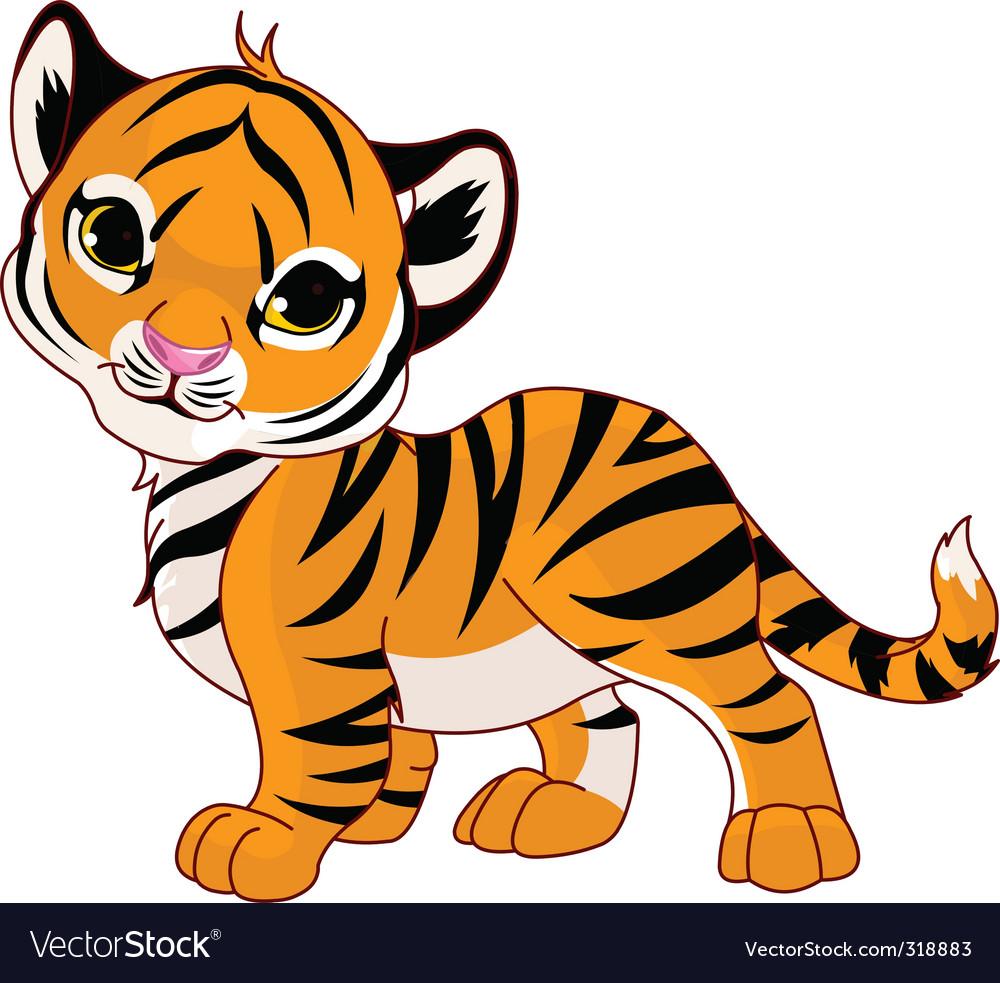 Walking baby tiger vector image
