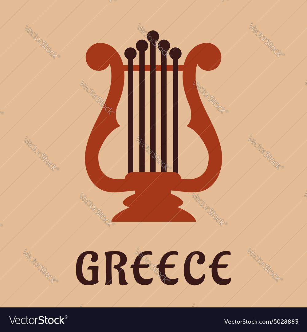Ancient greek lyre culture symbol vector image