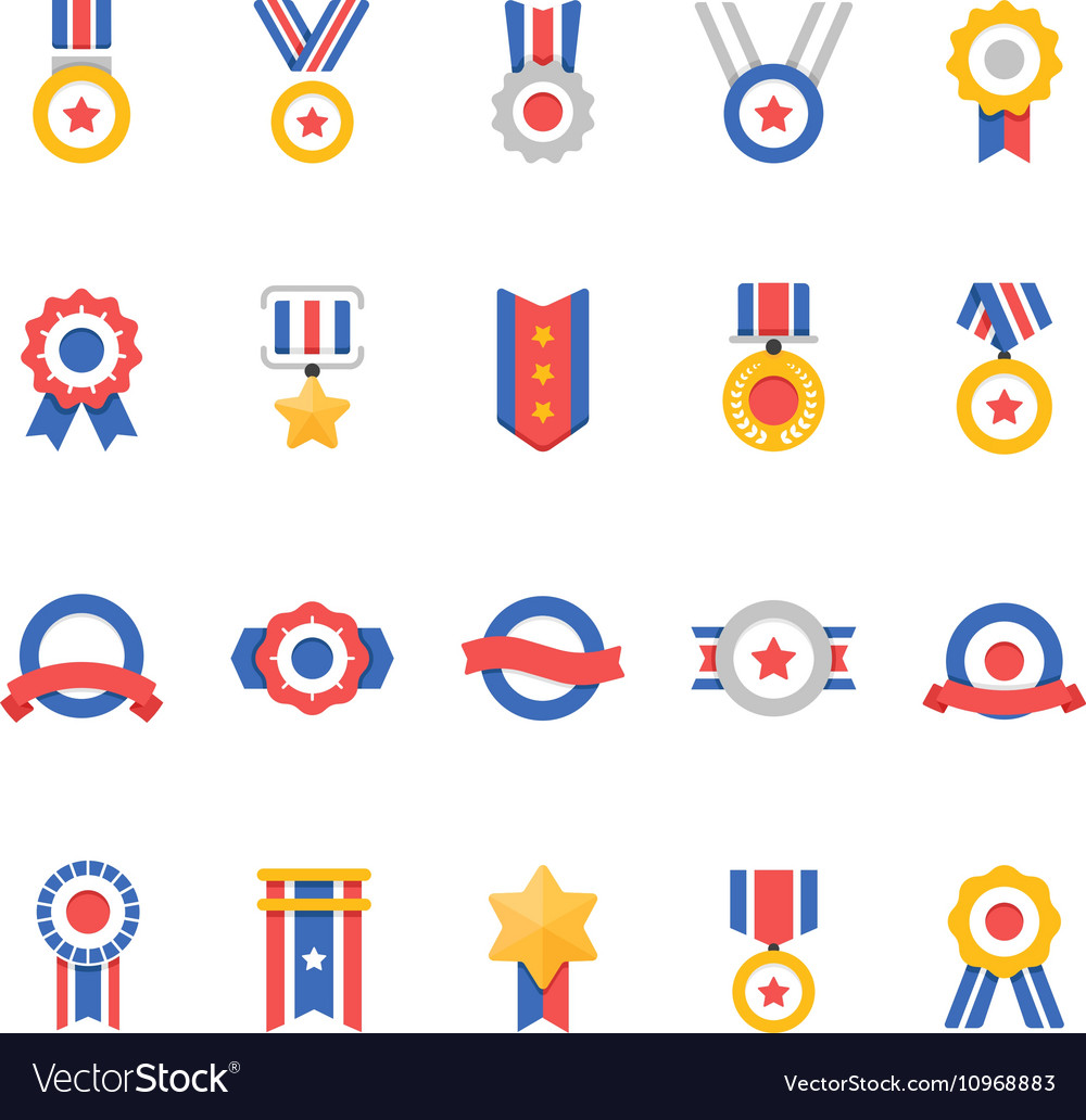 Badge Awards color icons vector image