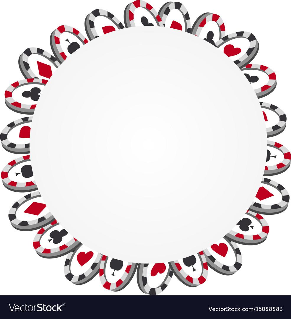 Casino game design chips poker frame vector image