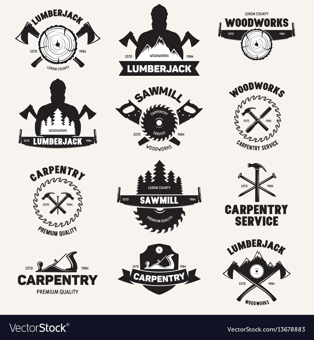 Collection of isolated vintage lumberjack labels vector image
