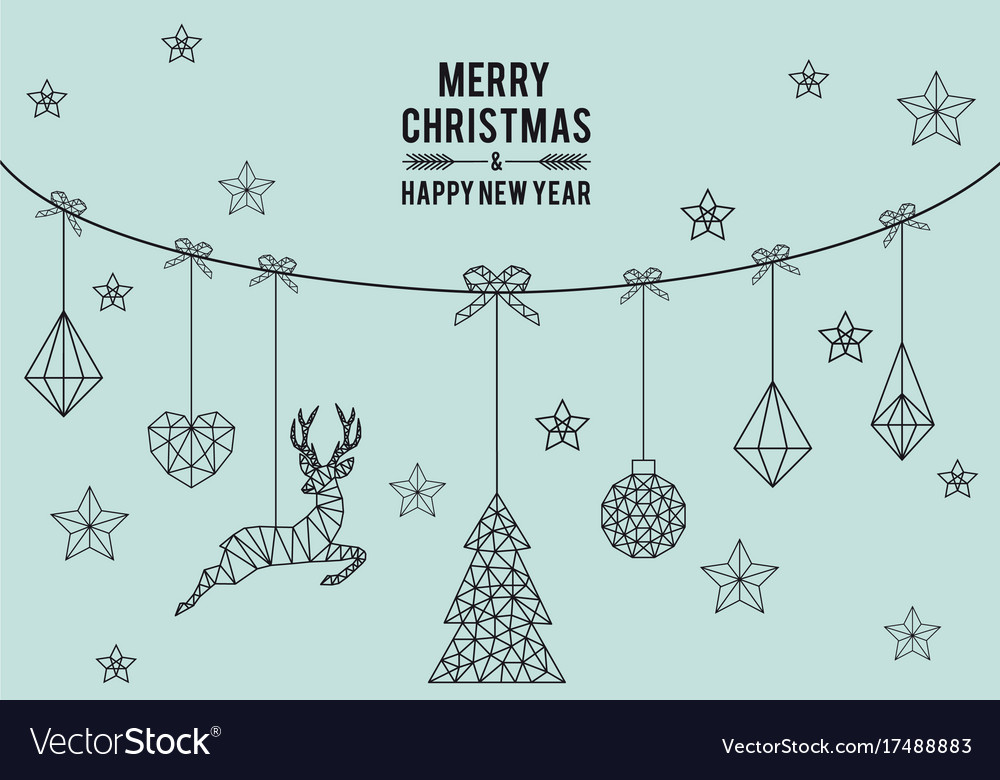 Geometric christmas card vector image