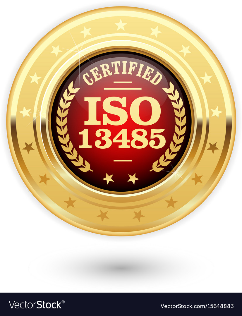 Iso 13485 certified medal - medical devices vector image