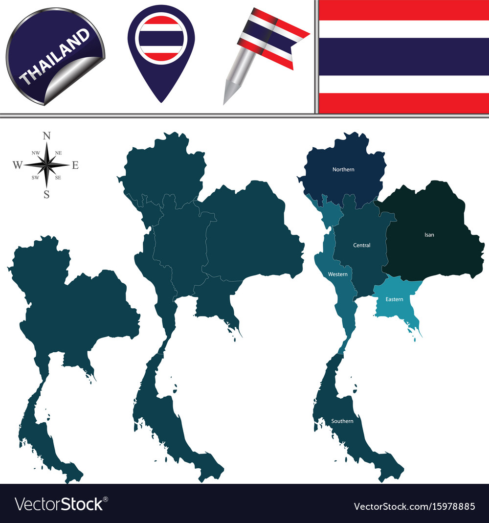 Map of thailand with regions vector image