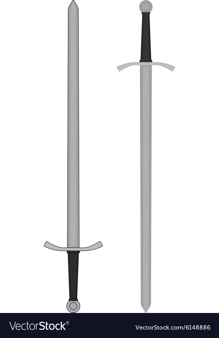 Two-handed medieval knight sword Color vector image