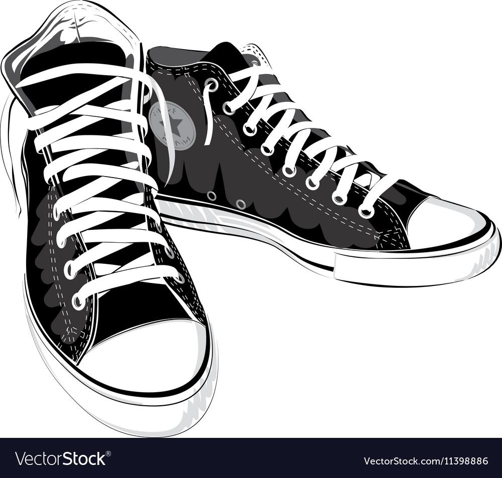 Vintage black shoes sneakers vector image