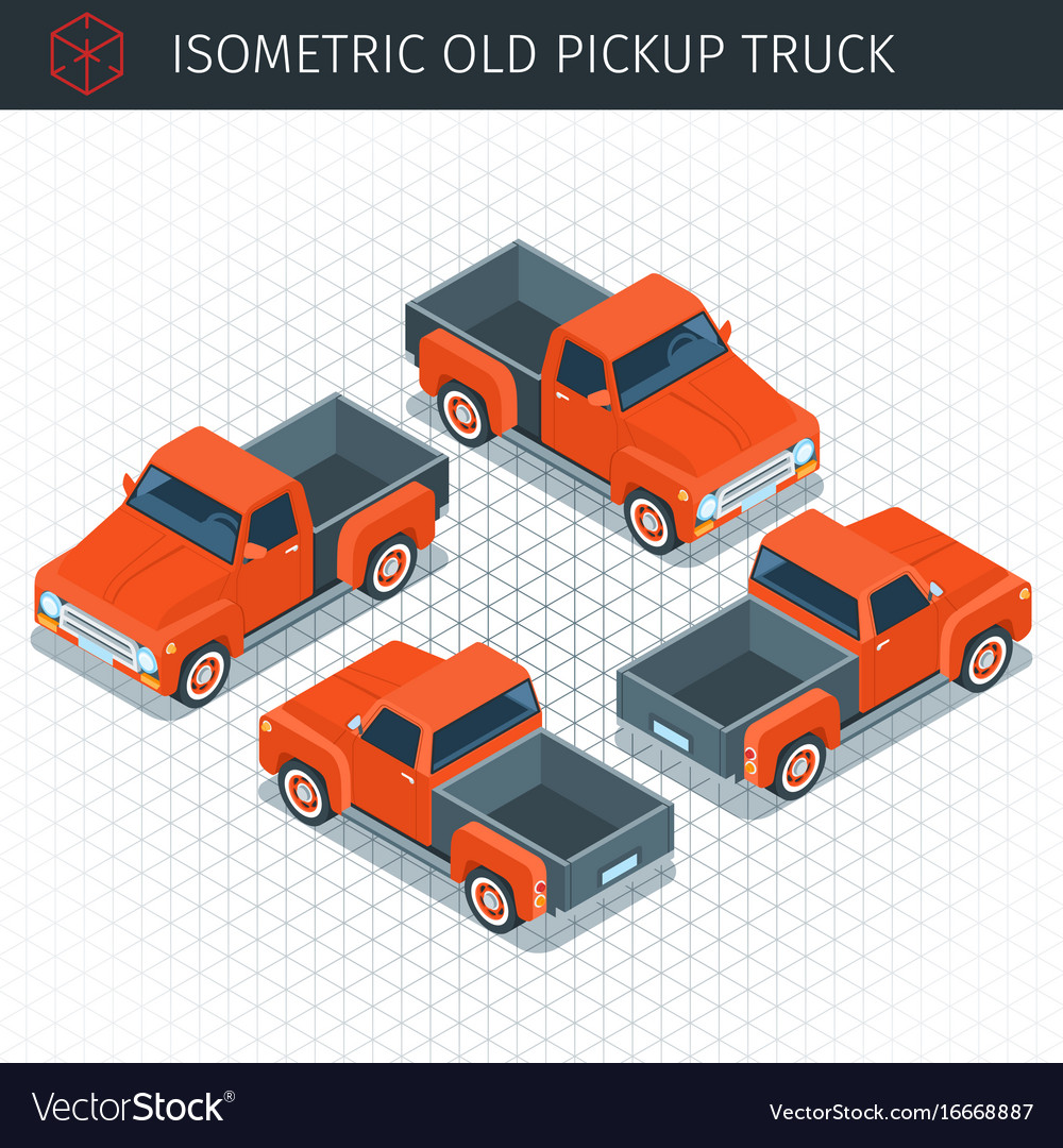 Red pickup truck vector image