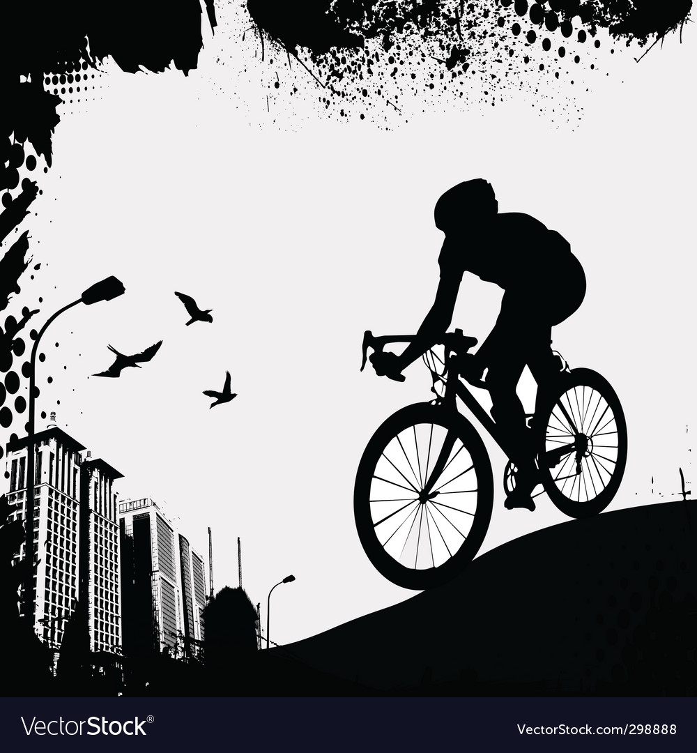 Bike and city vector image