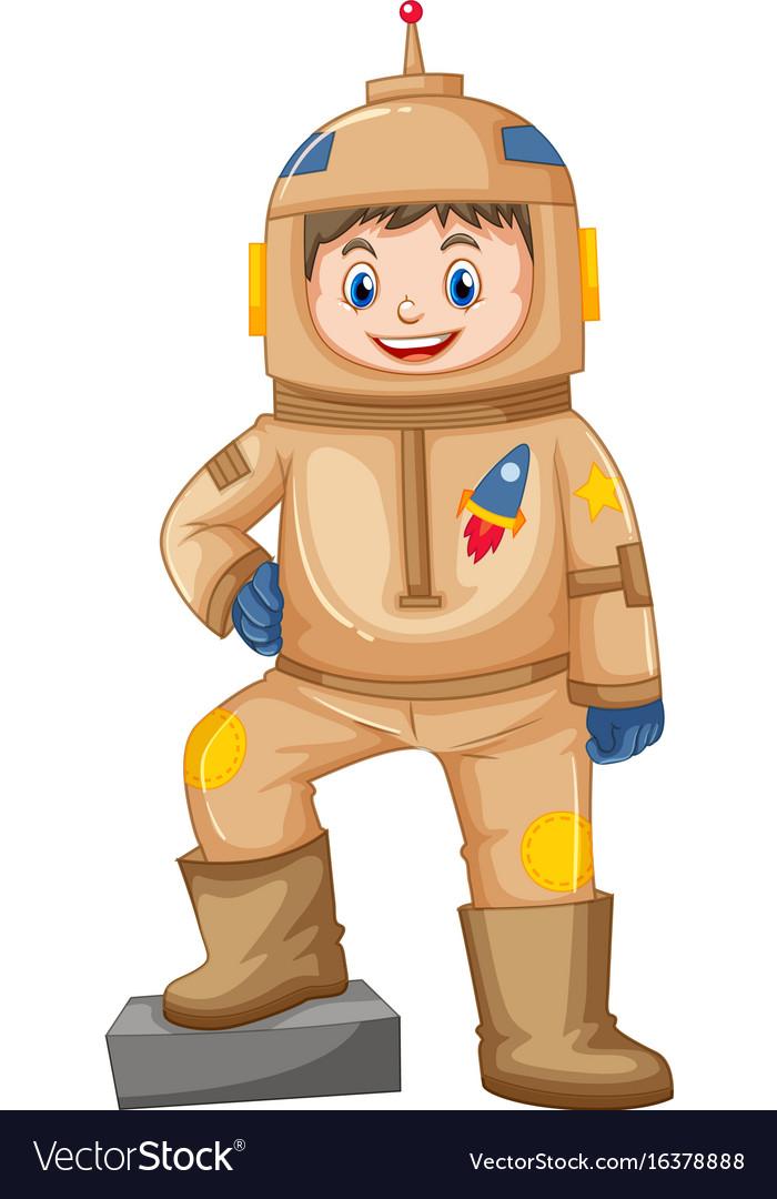 Happy boy in brown spacesuit vector image