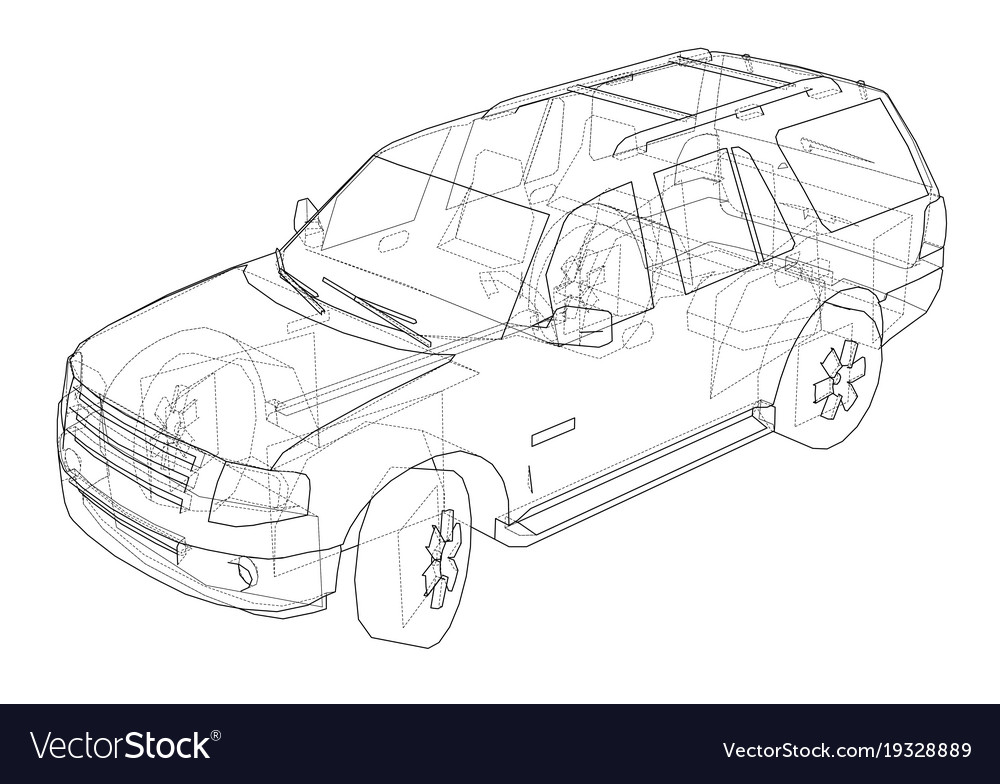 Line Drawing Car : Car suv drawing outline royalty free vector image