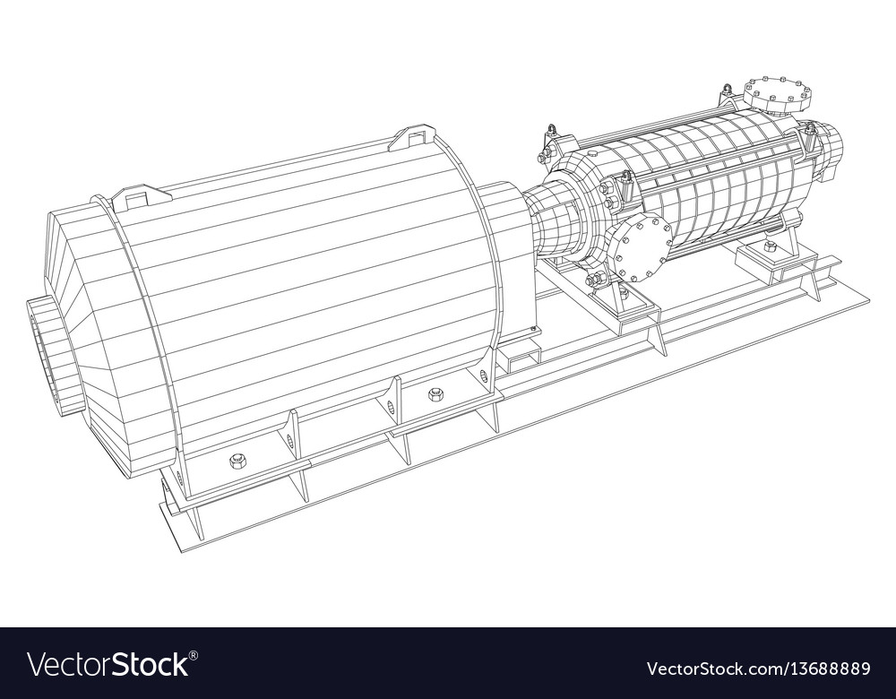 Wire-frame industrial equipment oil and gas pump vector image