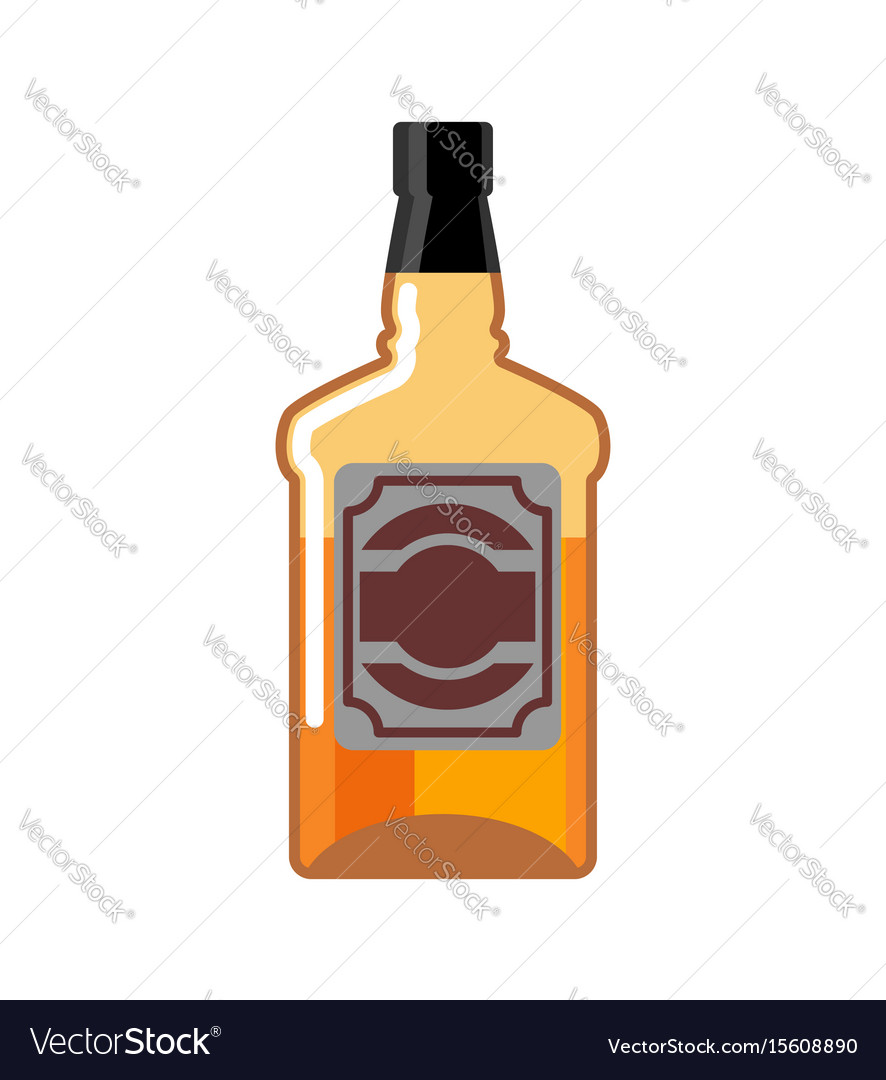Whiskey bottle isolated drink scotch tequila on vector image