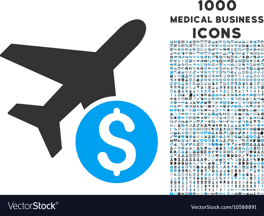 Airplane Price Icon with 1000 Medical Business vector image