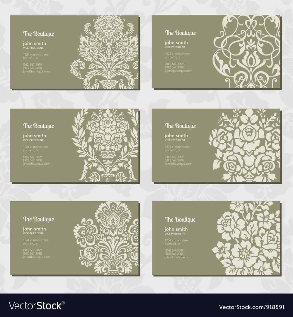 Vintage business cards Royalty Free Vector Image