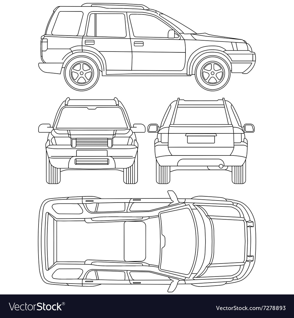 Car truck suv 4x4 line draw rent damage Royalty Free Vector
