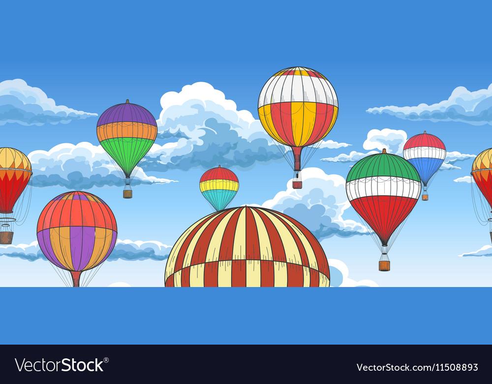 Vintage hot air balloons pattern vector image