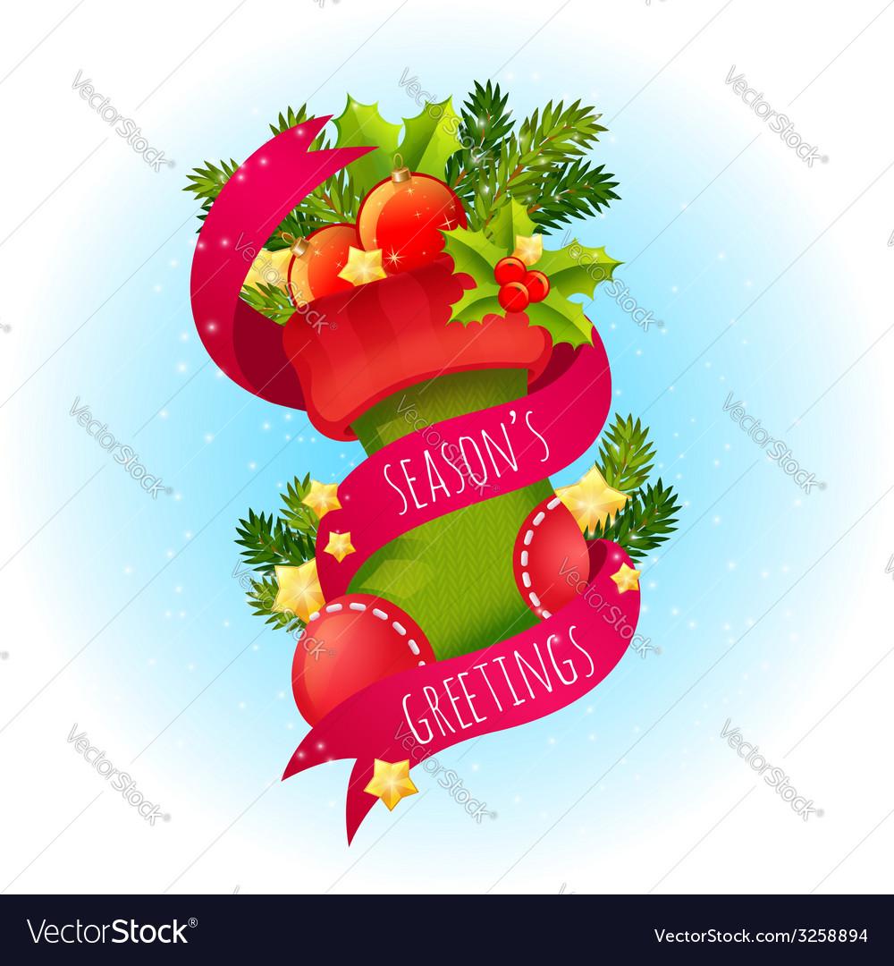 Cute Christmas postcard vector image
