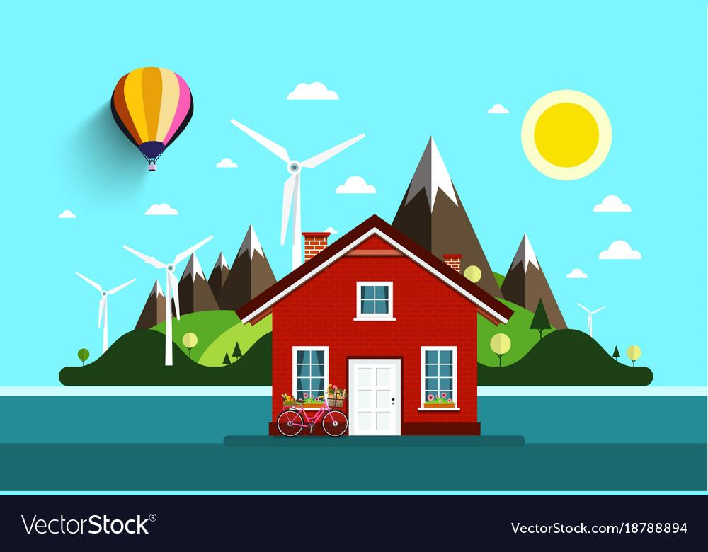 House in nature flat design landscape vector image