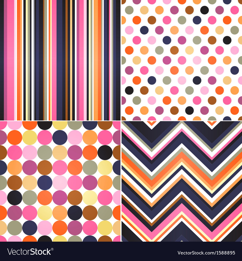 Seamless retro stripes zig zag and polka dots bac vector image