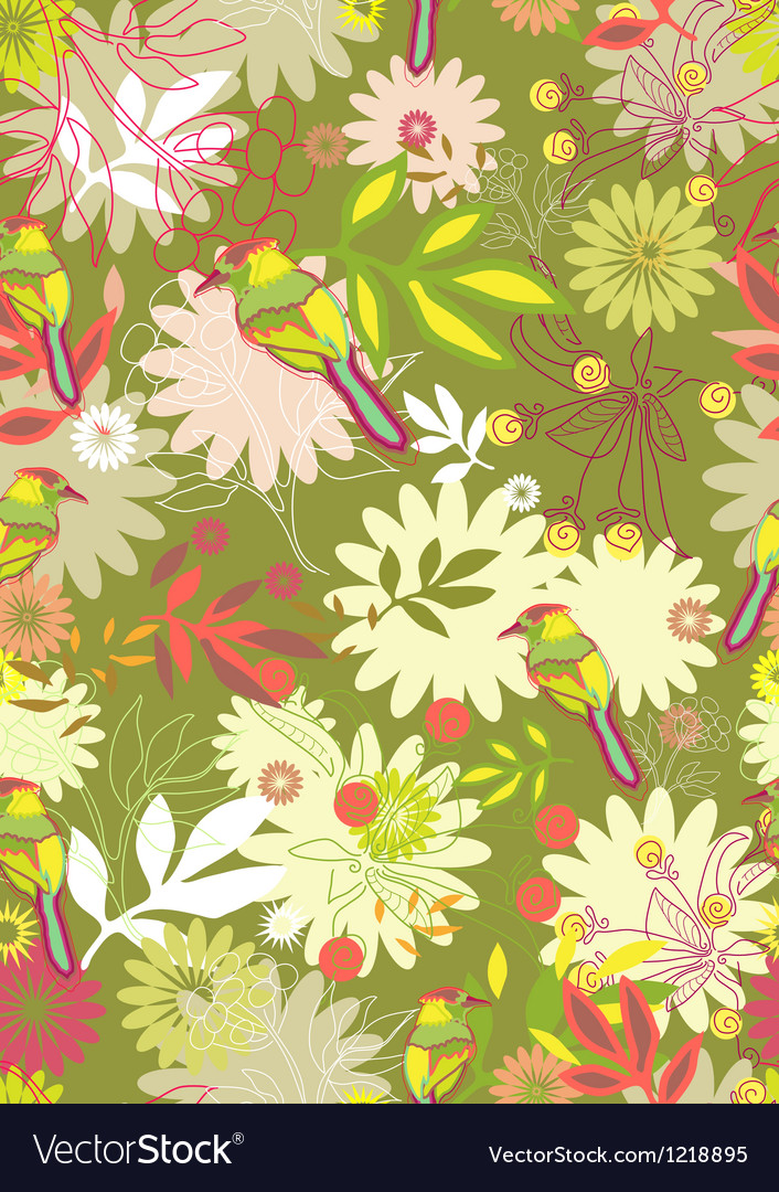 Seamless floral background with birds vector image