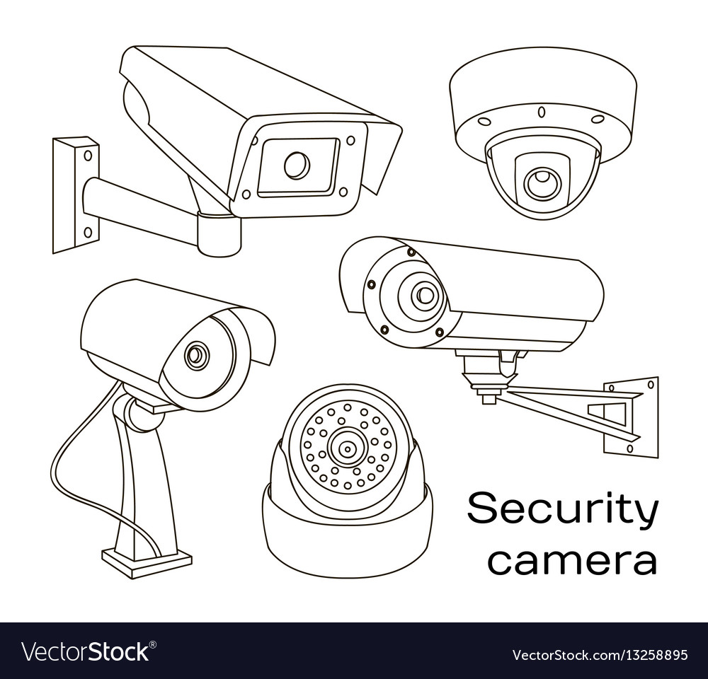 Set of security camera vector image