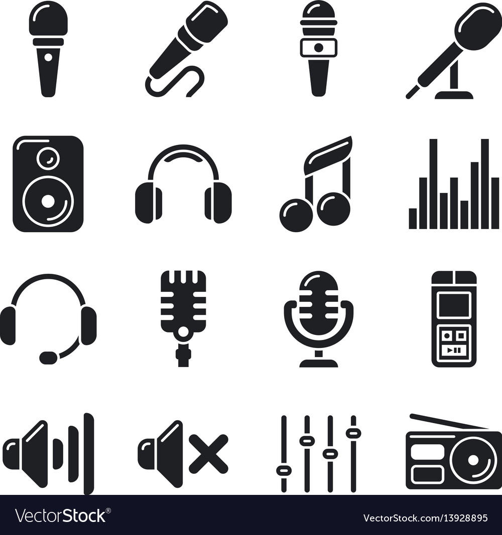 Studio microphones music icons vector image