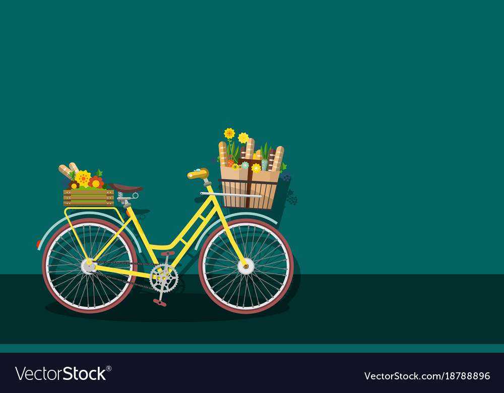 Yellow bicycle with empty space vector image