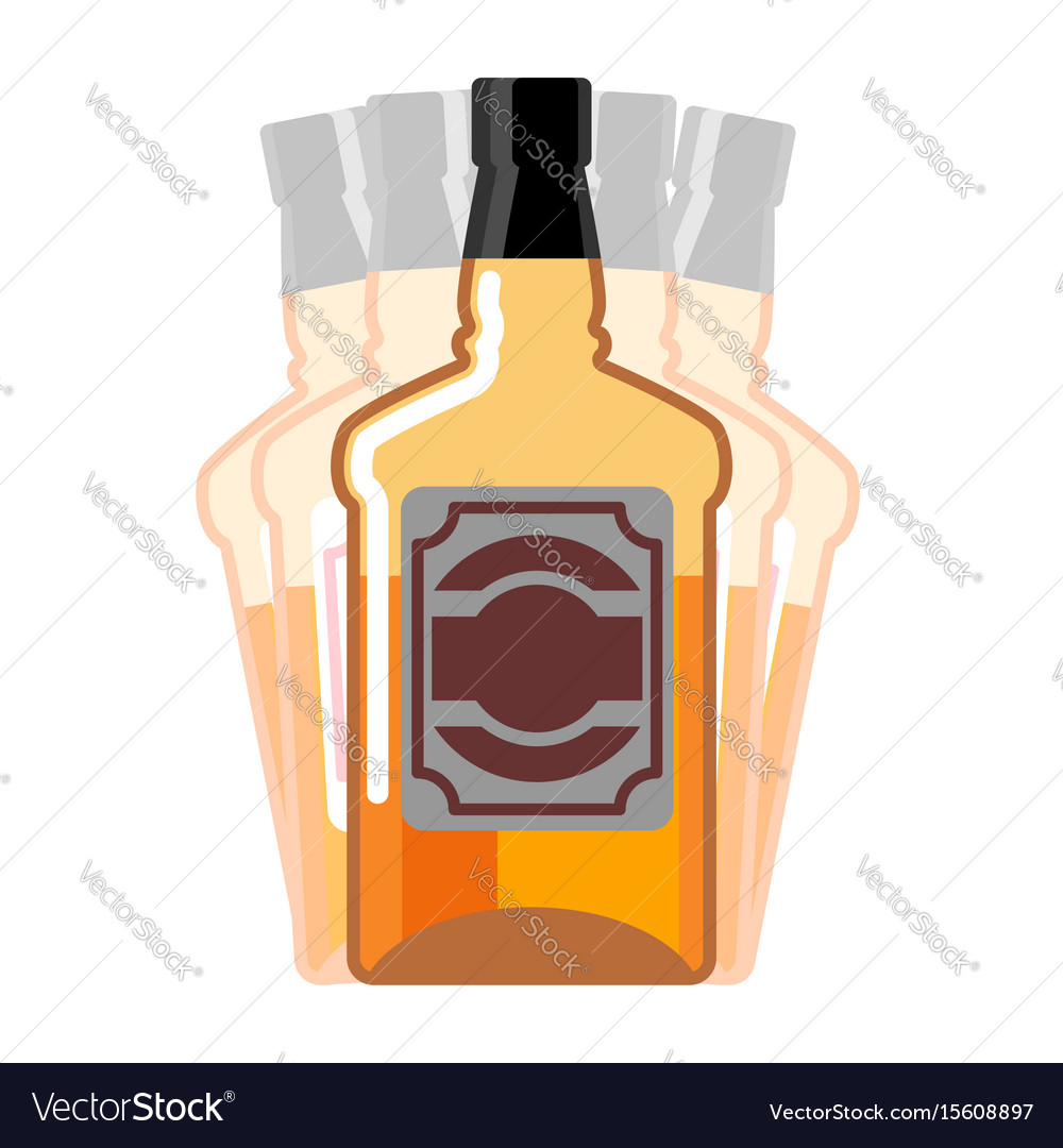 Drunkenness whiskey bottle seeing double drink vector image