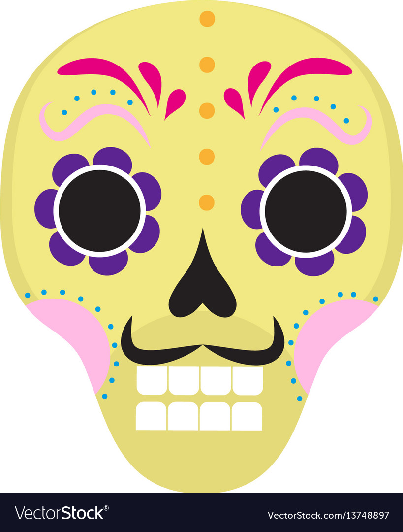 Sugar skull icon flat cartoon style cute dead vector image