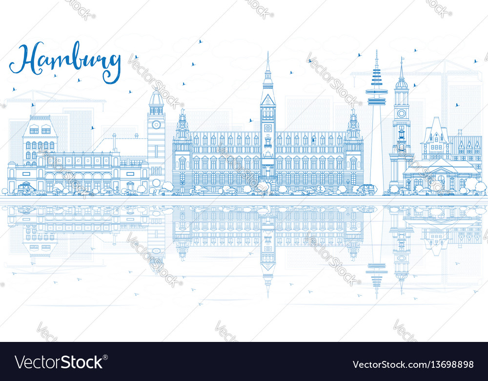 Outline hamburg skyline with blue buildings and vector image