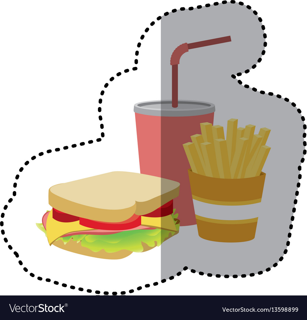Sandwich soda and fries french icon vector image