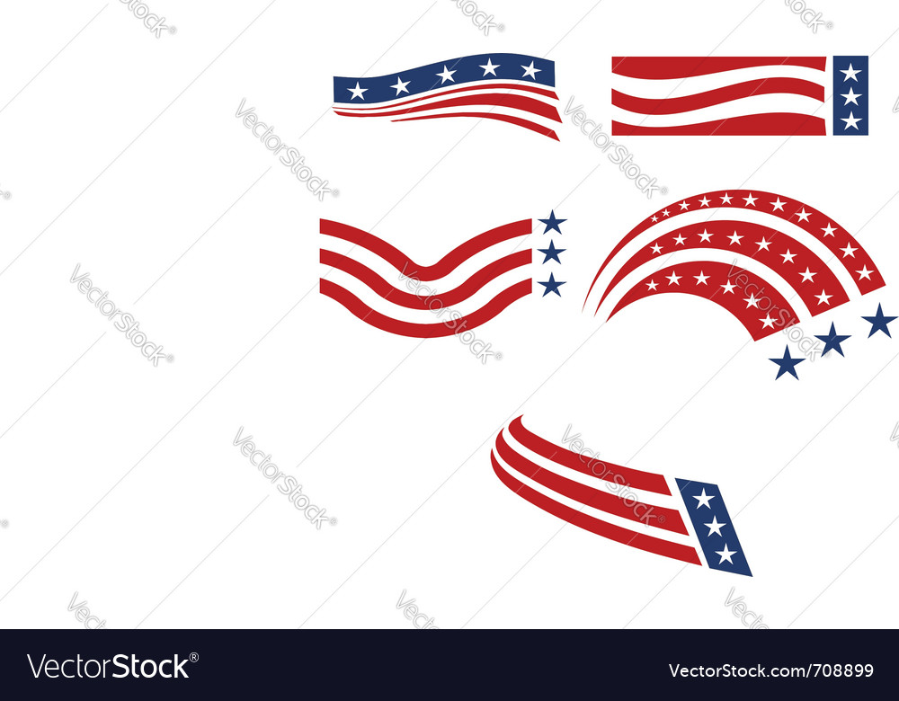 Set of usa flags vector image