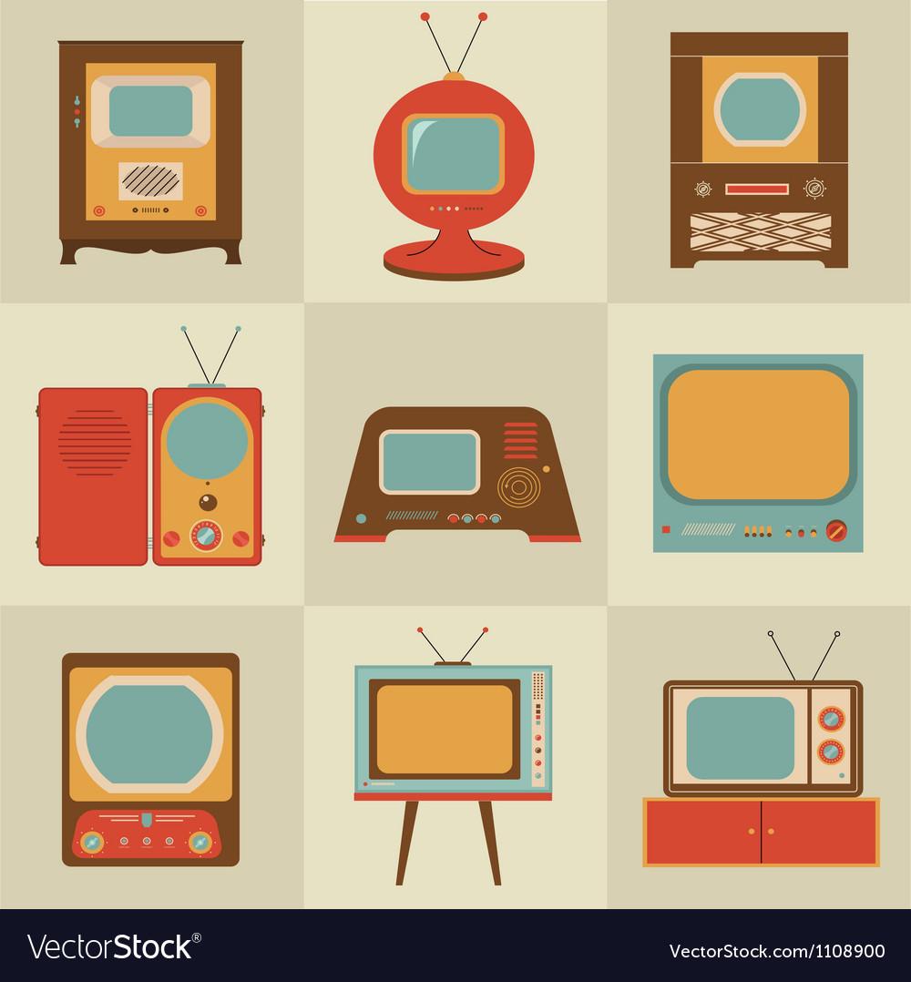 Retro vintage Tv set vector image
