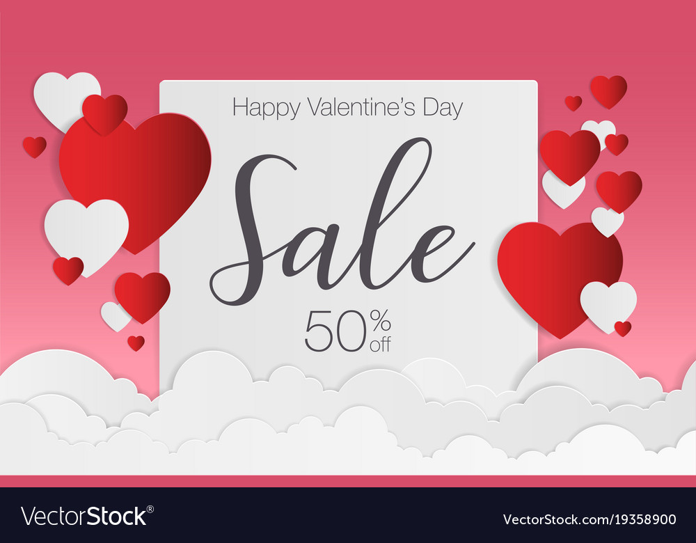 Valentines day sale background for poster vector image