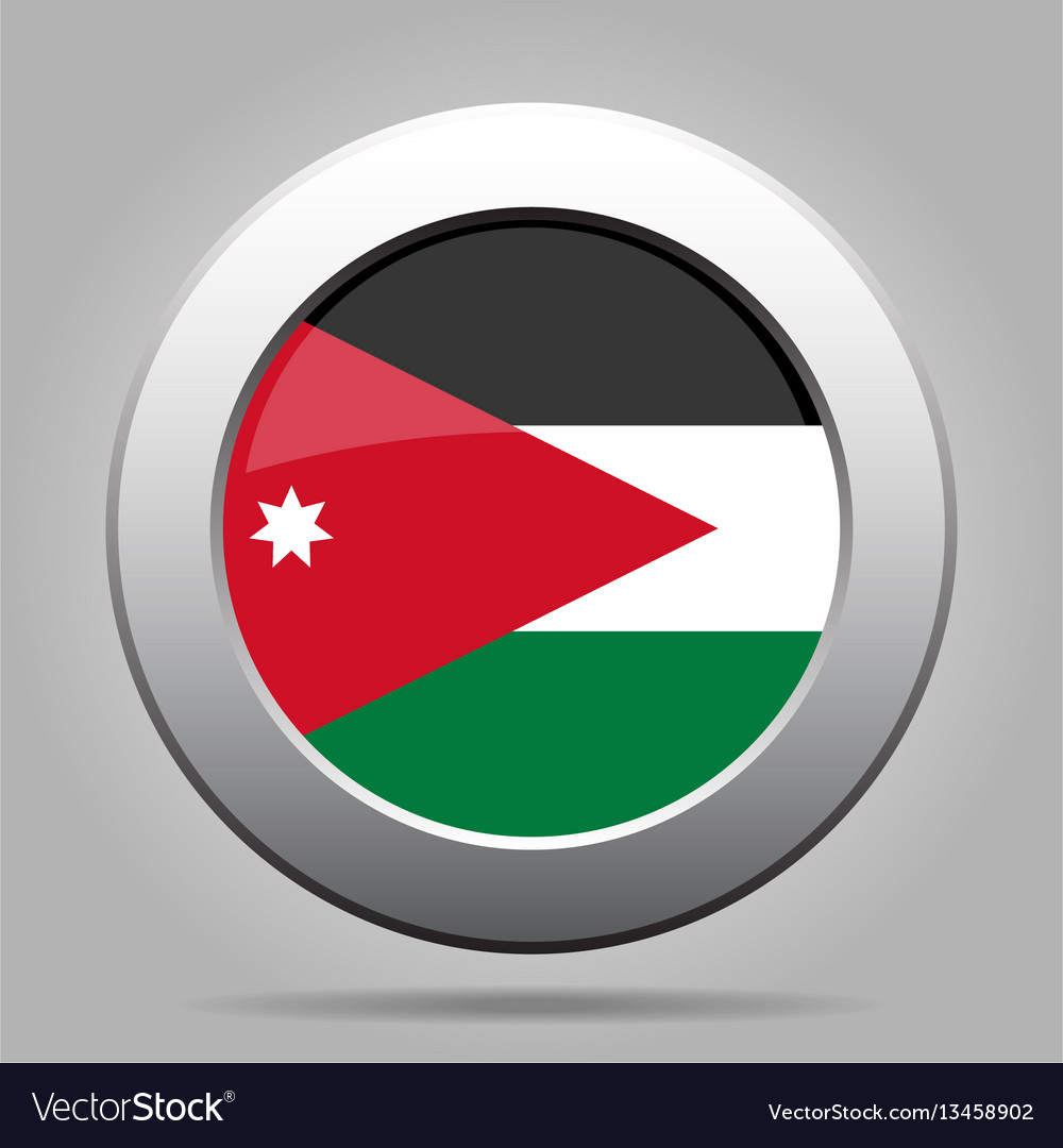 Flag of jordan shiny metal gray round button vector image