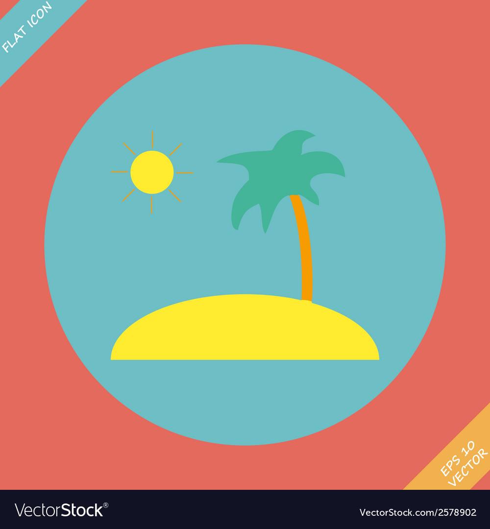 Tropical sea small island - vector image