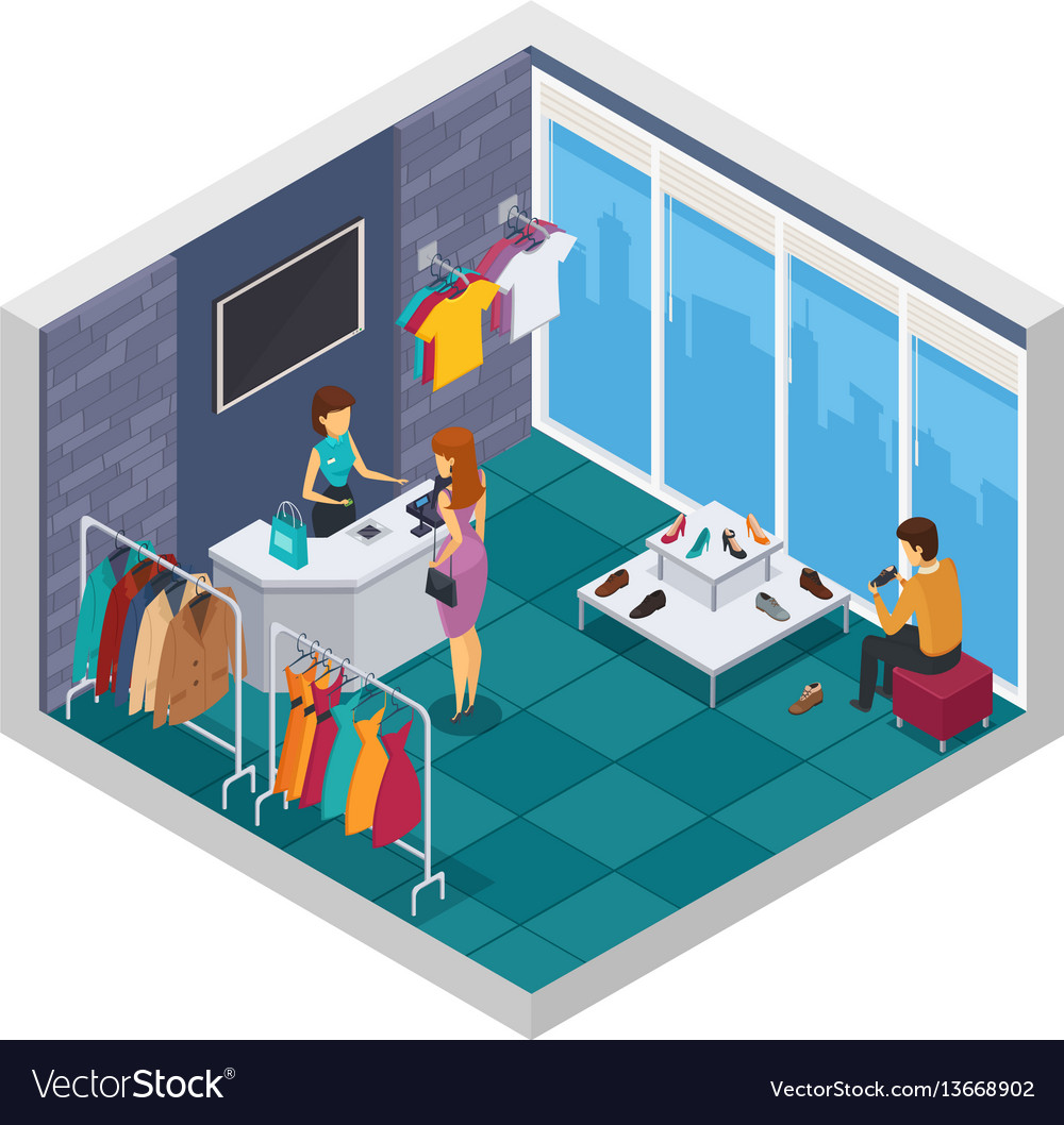 Trying shop isometric composition vector image