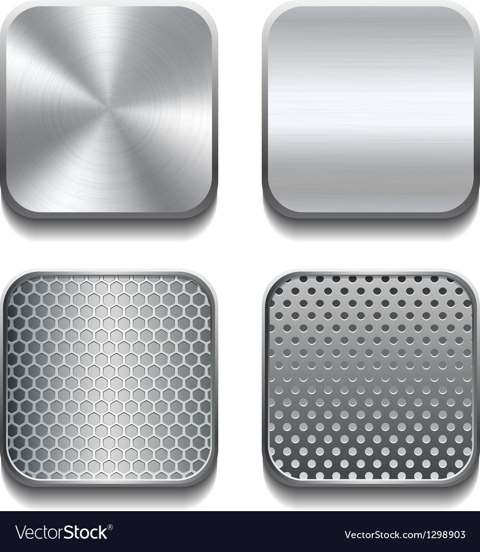 Apps metal icon set vector image